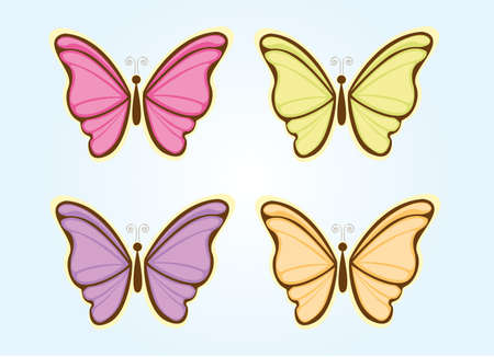 pink butterfly: four cute butterfly over blue background. vector Illustration