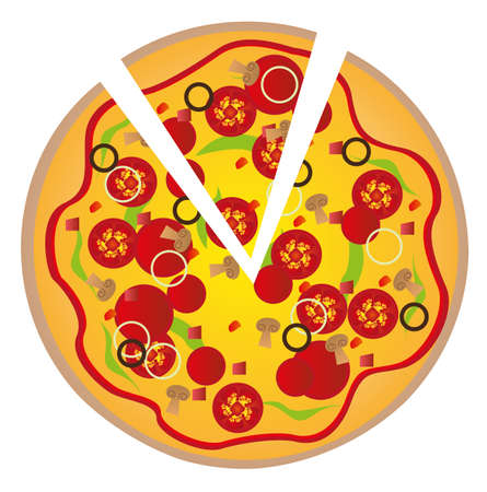 pizza with ingredients isolated over white background. vector Vector
