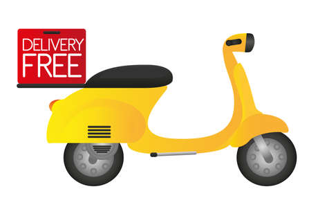 restored: motorbike with delivery box isolated over white background.. vector