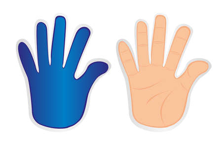 hands stickers isolated over white background. vector Stock Vector - 10768333