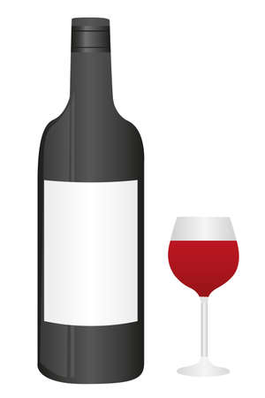 unlabeled: wine bottle and cup isolted over white background. vector