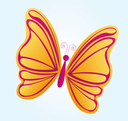 hermosa mariposa amarilla sobre fondo azul vector