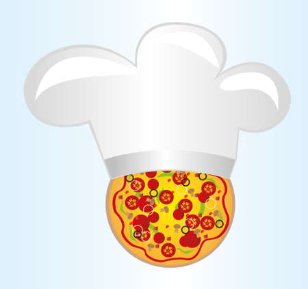 pizza with chef hat over blue background. vector Vector