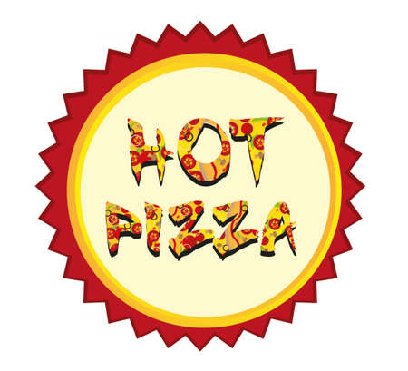 hot pizza tag isolated over white background. vector Vector