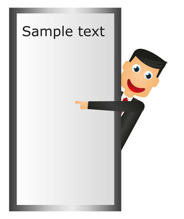 businessman pointing space advertising. vector. cartoon  Vector