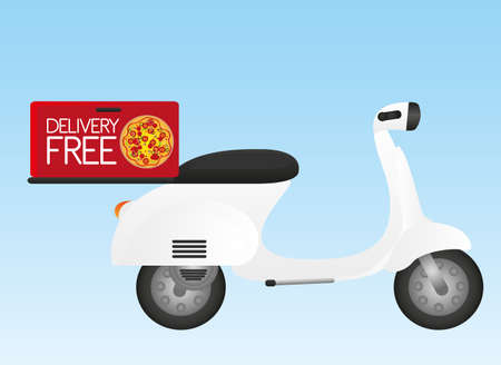 vespa: white motorbike with delivery box over blue background. vector