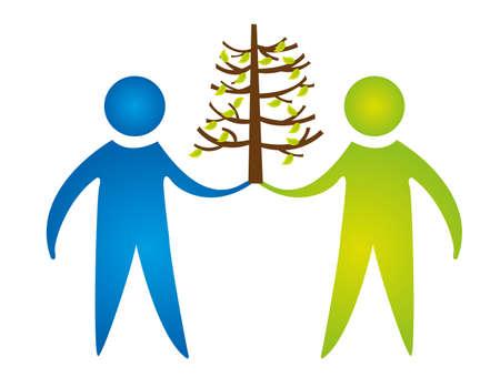 los hombres con el signo de la naturaleza árbol aislado sobre fondo blanco. vector Ilustración de vector