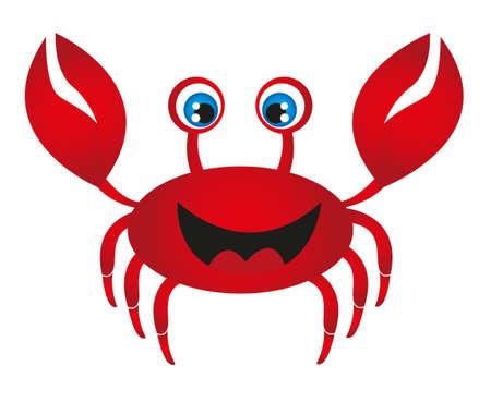 cangrejo caricatura: caricatura de cangrejo rojo aislada sobre fondo blanco. Vector Vectores