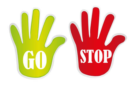 green and red go and stop hands isolated. vector Stock Vector - 10768310