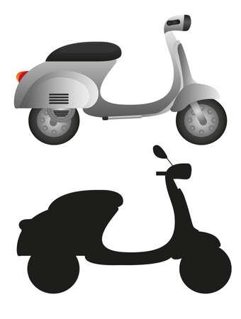 vespa piaggio: moto grigio e moto silhouette isolato su sfondo bianco. vettore