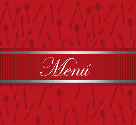 red carte restaurant desing with cutlery background. vector Vector