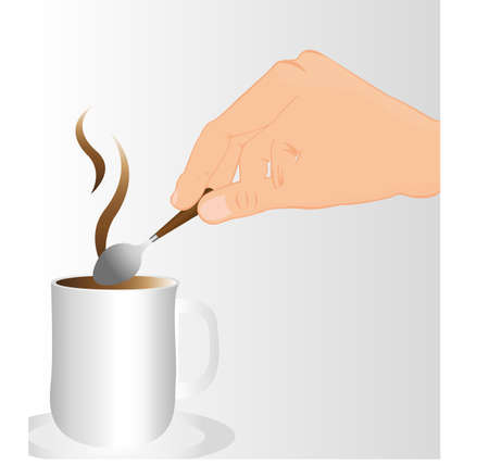 stirring: hand stirring hot coffee over gray background. vector