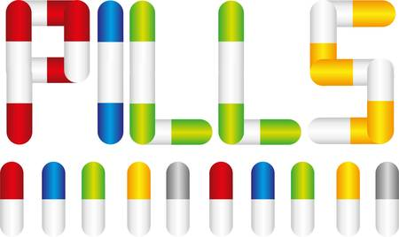 colorful pills isolated over black  background. vector Vector