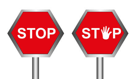 red stop sing with hand isolated over white background. vector Stock Vector - 10768227