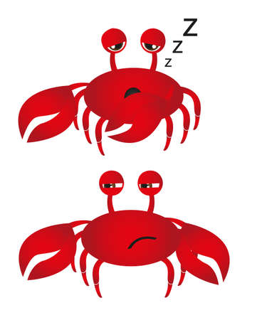 suspected: crab dream and crab with suspected isolated. vector