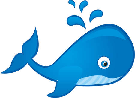 blue whale cartoon isolated over white background. vector Vector