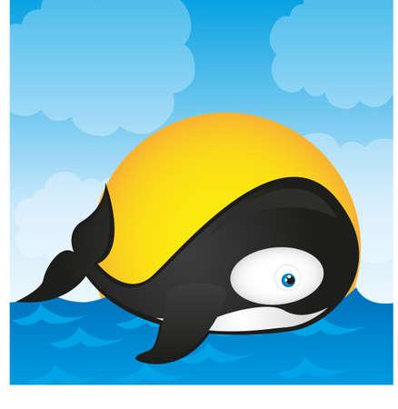 orca whale cartoon isolated over landscape. vector Vector