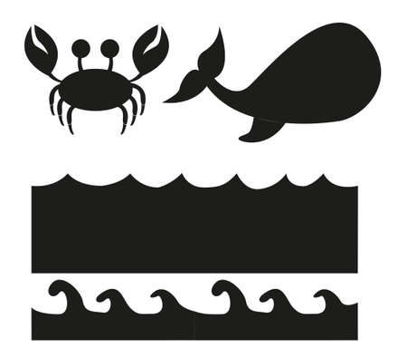 animals and sea silhouette isolated over white background. vector Vector