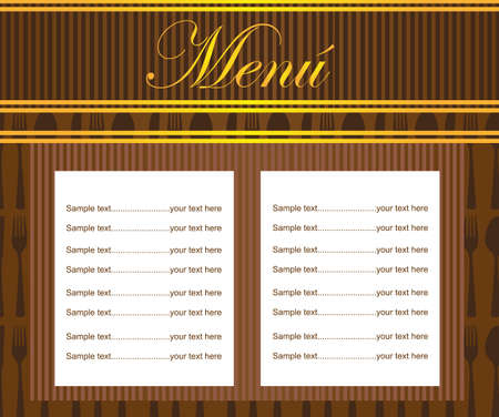 brown carte restaurant desing with cutlery. vector Vector