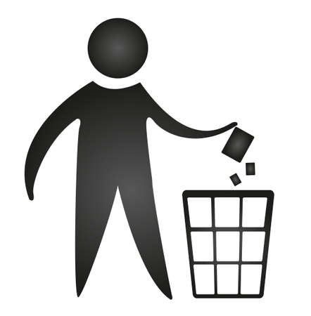 garbage bin: black no littering sign isolated over white background. vector