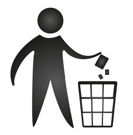 trash basket: no negro littering signo aislado sobre fondo blanco. Vector
