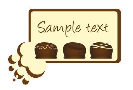 chocolate cupcake: chocolate bar card isolated over white background. vector Illustration