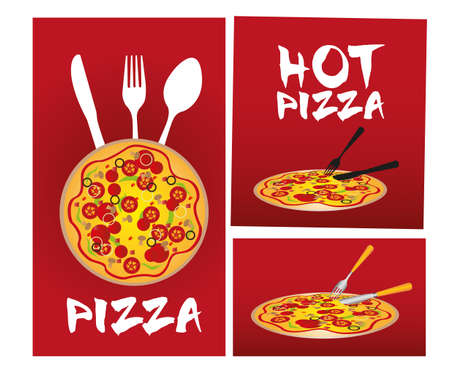 main course: red pizza advertising isolated over white background. vector Illustration
