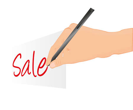 hand writing sale with perspective isolated. vector Vector