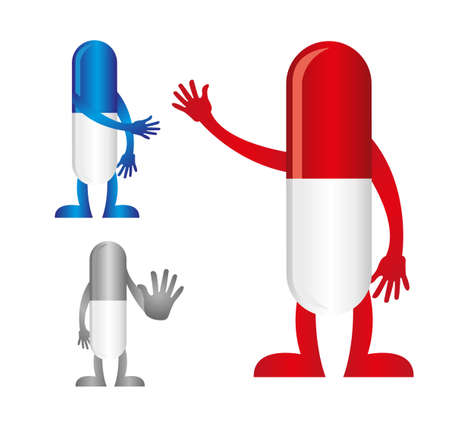 pills with hands isolated over white background. vector Vector