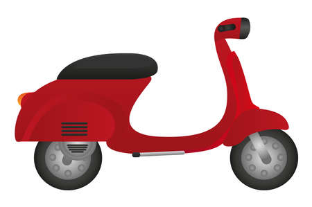 vespa: red motorbike isolated over white background. vector Illustration