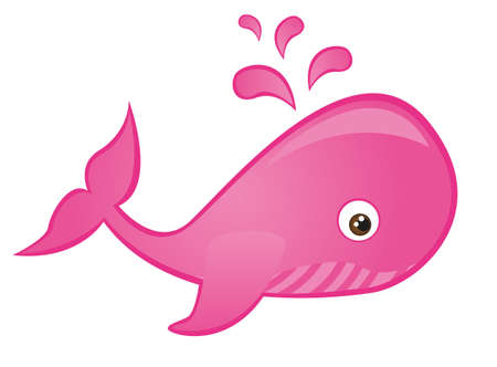 pink whale cartoon isolated over white background. vector Illustration
