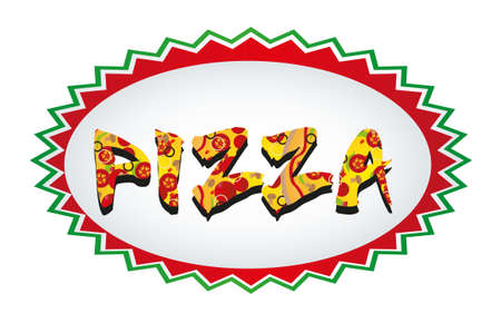 backgroud: pizza tag isolated over white backgroud. vector