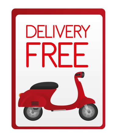 vespa: red delivery free sign isolated over white background. vector Illustration