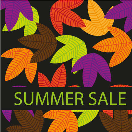 colorful leaves, summer sale isolated over black background. vector Stock Vector - 10768609