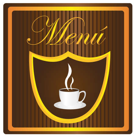 menu coffe cup over brown background. vector Stock Vector - 10768501