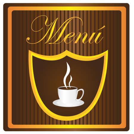menu coffe cup over brown background. vector Vector