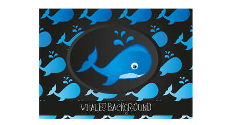 blue whale cartoon and silhouette over black background Vector