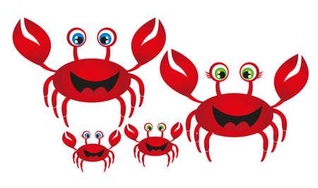 familia animada: familia cangrejo rojo aislado sobre fondo blanco. vector Vectores