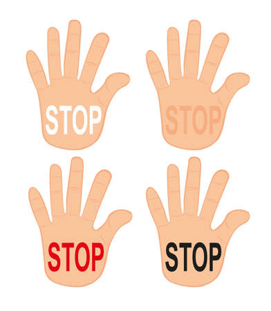 hands stop isolated over white background. vector Vector