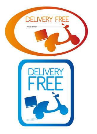 vespa: delivery free with silhouette motorbike isolated over white background. vector