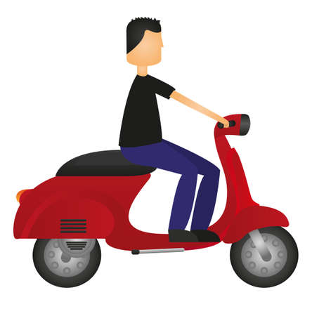 dirtbike: man on motorbike isolated over white background. vector