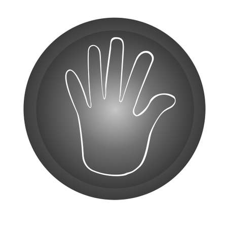 hinder: hand stop black button isolated over white background. vector