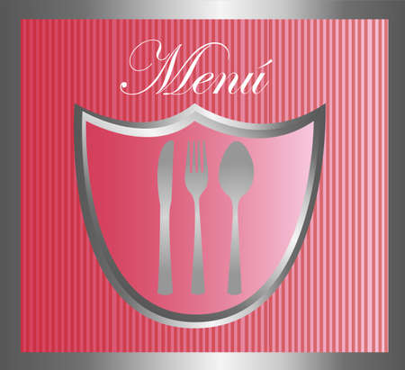 collation: menu with cutlery emblem over pink background. vector Illustration