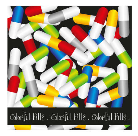 colorful pills isolated over black  background. vector Stock Vector - 10768507