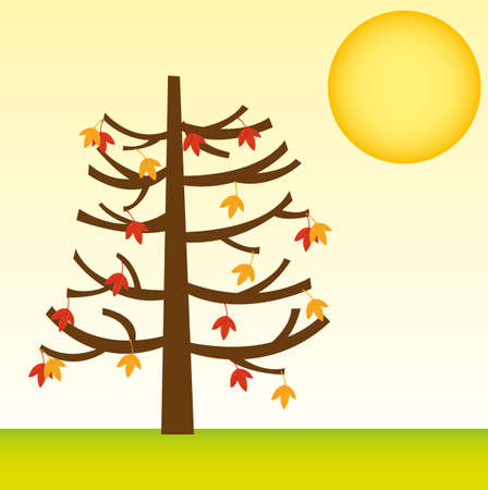 tree with fall leaves over landscape with sun. vector Stock Vector - 10768540