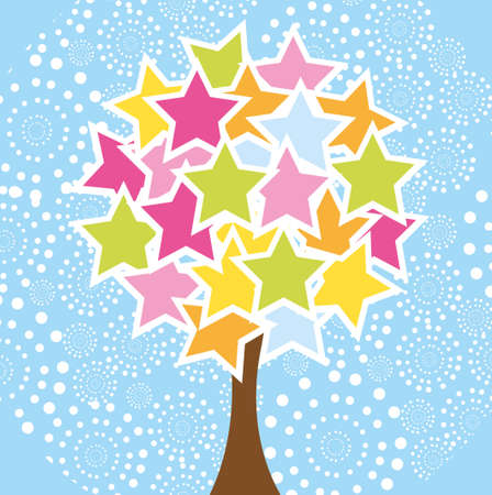 cute star tree over blue background. vector Vector