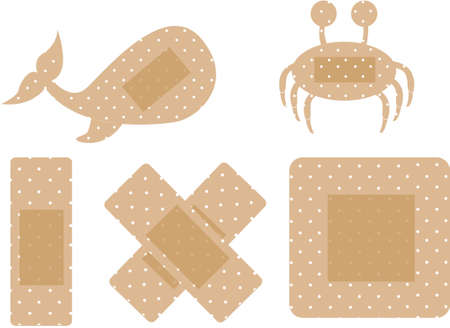band aid: silhouette whale and crab cure band isolated over white background. vector Illustration