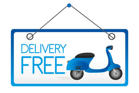 vespa: delivery free door sign isolated over white background. vector