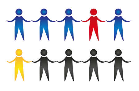 social actions: holding hands men isolated over white background. vector