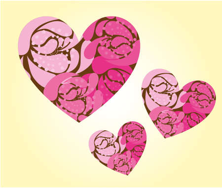 pink cute hearts over beige background. vector Vector
